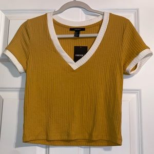 Yellow and White V Neck Crop Top